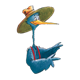 Stork in Suspenders with hat