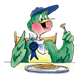 Green Bird eating pancakes