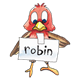 Robin red, with sign