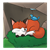 Fox Sleeping Color PNG