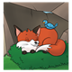Fox Sleeping with bluebird in den