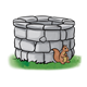 Gray Stone Well with squirrel