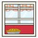 Window with a plaid curtain and a baked pie