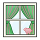 Window with green and red curtains and piggy bank