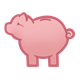 Pink Piggy Bank facing left