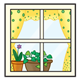 Window with polka-dot curtains and potted plants