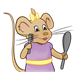 Girl Mouse with purple dress and yellow bow