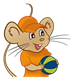Boy Mouse with orange shirt and hat