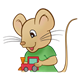 Boy Mouse with green shirt and train