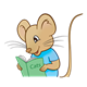 Boy Mouse with blue shirt and book