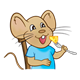 Boy Mouse with blue shirt, eating cheese