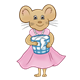 Mother Mouse with pink dress and pearls