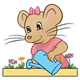 Girl Mouse with pink shirt and watering can