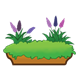 Brown Flower Box with greenery and two hyacinth plants
