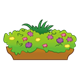 Brown Flower Box with greenery and multicolored flowers
