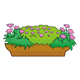 Brown Flower Box with purple flowers