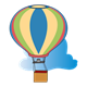 Hot Air Balloon and Cloud blue, pink, yellow, green
