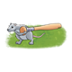 Rat Carrying a Wooden Bat has grass background