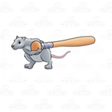 Rat Carrying a Wooden Bat