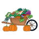 Wheelbarrow of Vegetables with three pumpkins sitting to the side