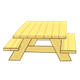 Yellow Picnic Table with side view