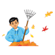 Boy Holding Rake with leaf pile