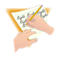 Pencil and Paper Position for the right-handed writer, has background