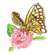 Yellow Butterfly on a pink rose