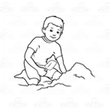 Boy Sitting in Sand