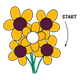 Bouquet of Yellow Flowers game, with start and arrow