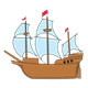 Old-Fashioned Ship with red flags