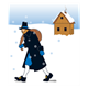 Pilgrim with Bag walking past log cabin in snow
