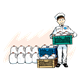 Milkman with Crate with milk jugs in it, has background