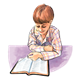 Boy in Plaid Shirt reading Bible, has background