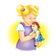 Girl Holding Doll with yellow background