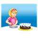 Girl looking at cake, has blue background
