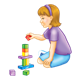 Girl with Purple Headband playing with blocks