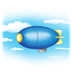 Blue and Yellow Blimp in blue sky with puffy white clouds