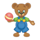 Button Bear holding a red ball with yellow stripe