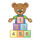 Button Bear with stacked, colored blocks