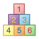 Colored Blocks stacked, numbers 1-6