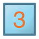 Blue Block square, with orange number 3