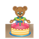 Button Bear with cake and three candles