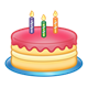 Yellow Birthday Cake with pink frosting and three candles