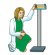 Nurse kneeling beside scale