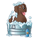 Happy Dog taking a bubble bath