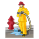 Firefighter with hose, fire hydrant, and puddle