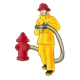 Firefighter with red fire hydrant and hose