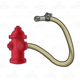 Red Fire Hydrant and Hose
