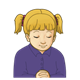 Girl Praying has blond pigtails